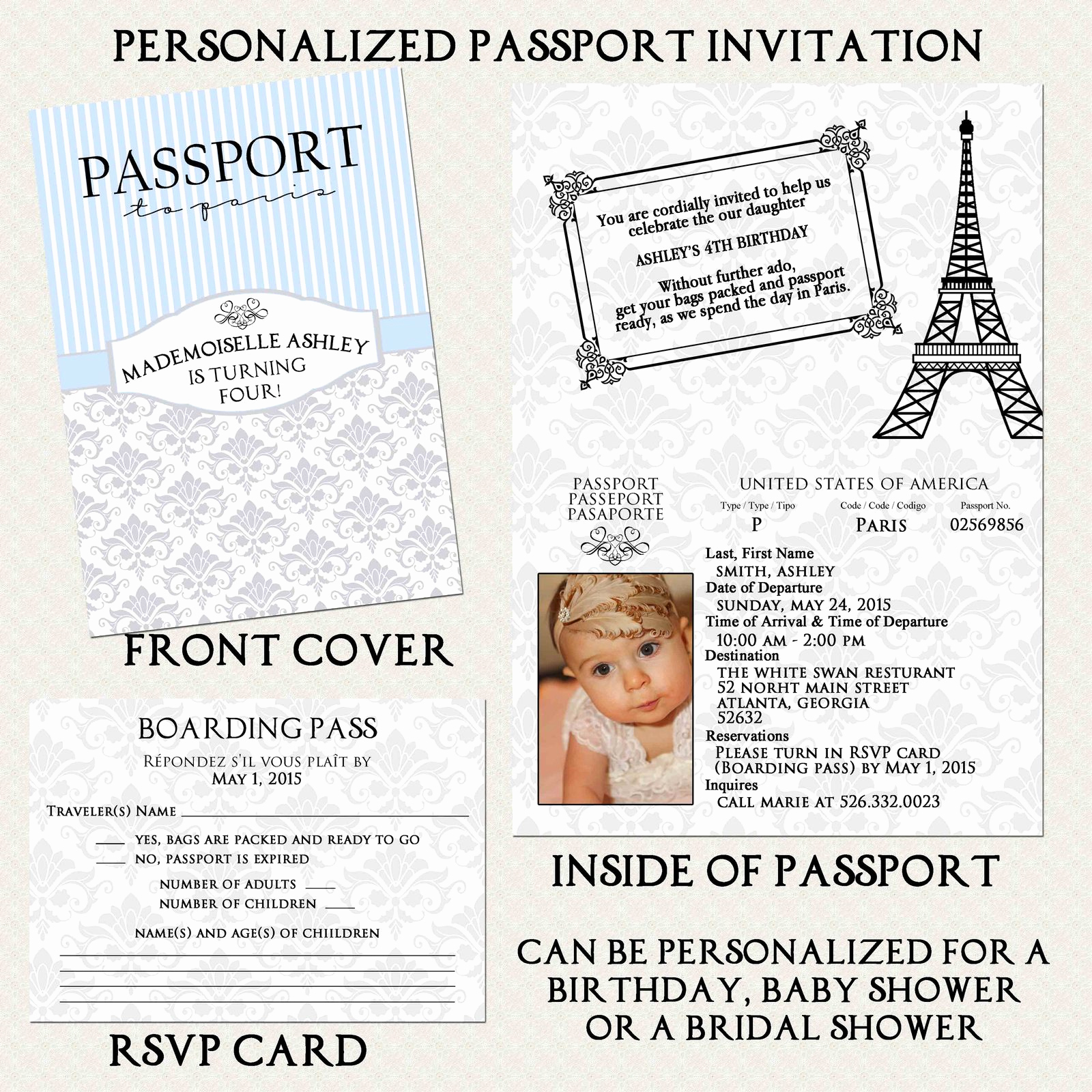 Passport to Paris Invitation Elegant Blue Silver Paris Passport Boarding Pass Invitation Set