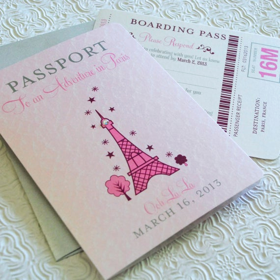 Passport to Paris Invitation Fresh First Birthday Passport to Paris Birthday Invitation