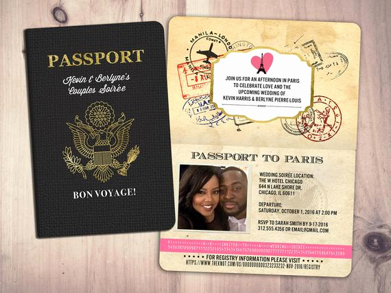 Passport to Paris Invitation Fresh Paris Passport Couples Shower Wedding Shower Travel
