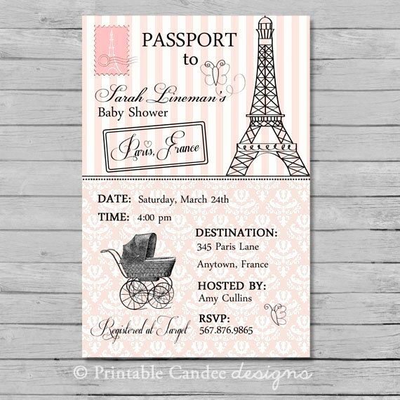 Passport to Paris Invitation Inspirational Passport to Paris Baby Shower Invitation Diy Custom
