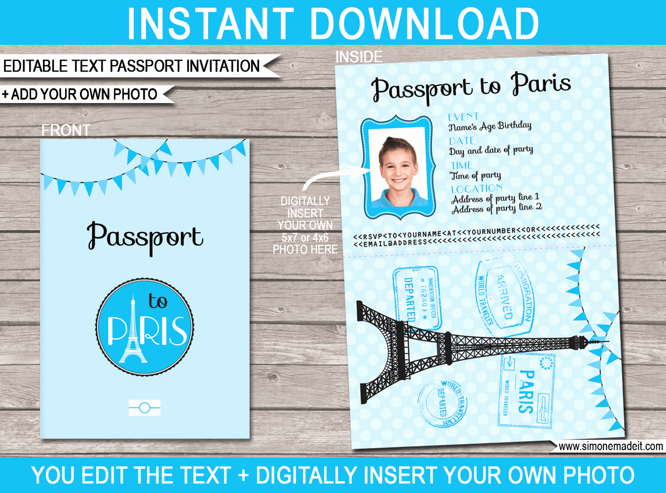 Passport to Paris Invitation Lovely Paris Passport Birthday Invitation Template