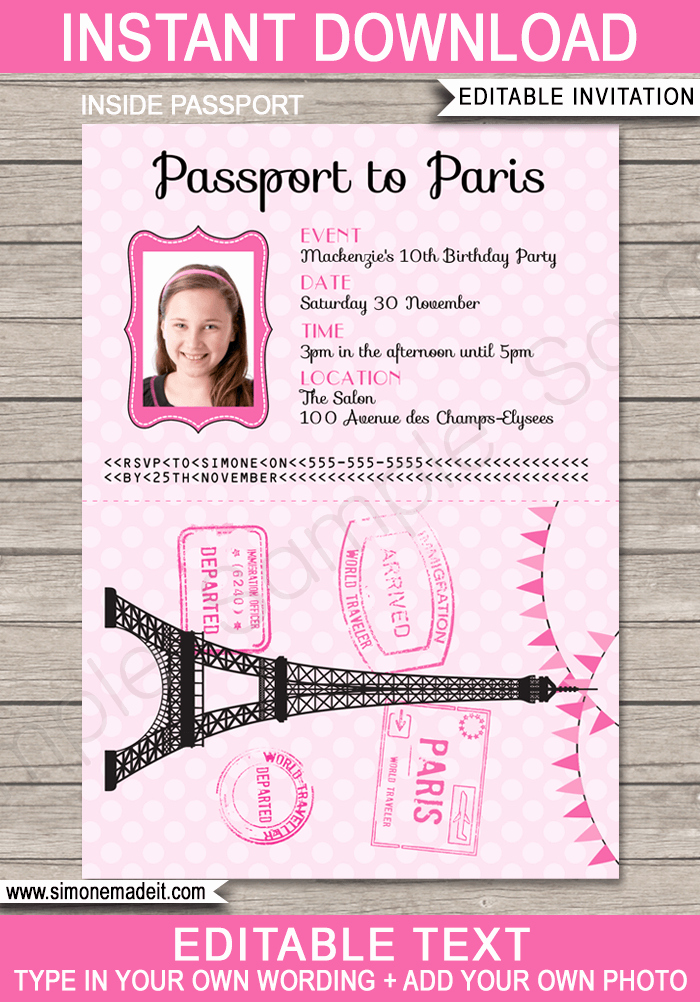 Passport to Paris Invitation Lovely Paris Passport Invitation Template with Photo