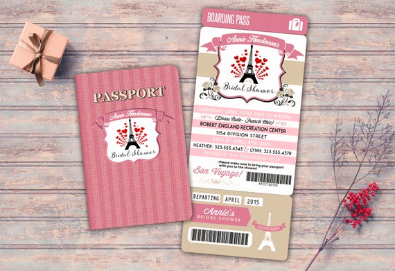 Passport to Paris Invitation Luxury Passport and Ticket Sweet 16 Bridal Shower Invitation Girl