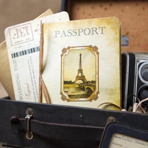 Passport to Paris Invitation Luxury Vintage Passport Wedding Invitation Paris Europe Design
