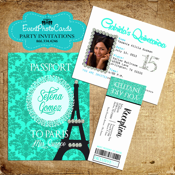 Passport to Paris Invitation New Quinceanera Paris Passport Invitations Sweet by