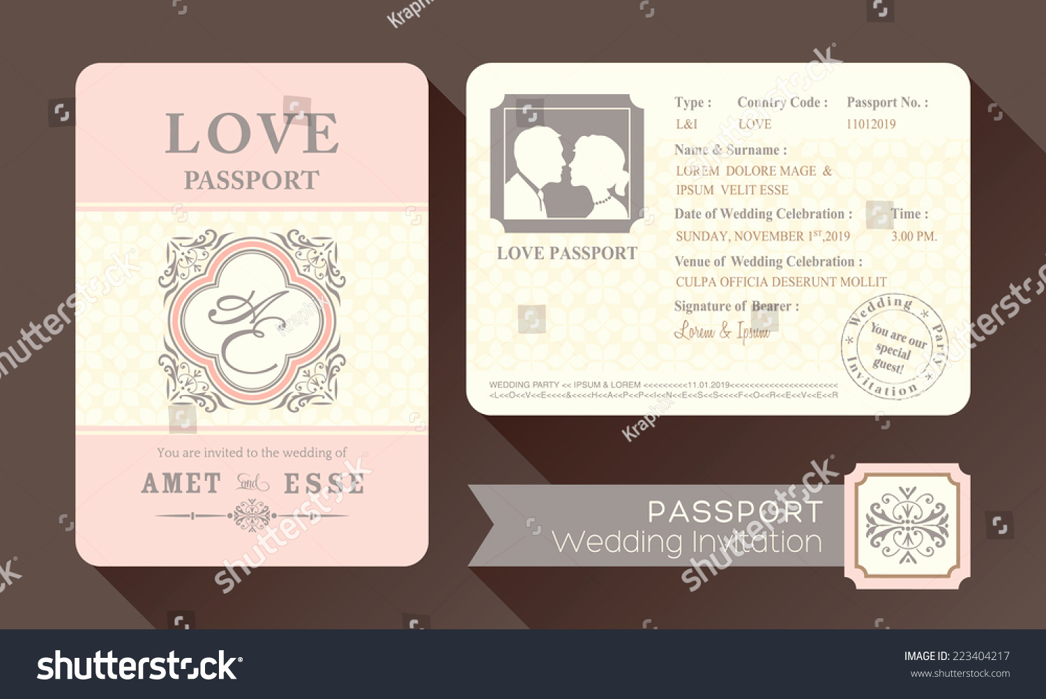 Passport Wedding Invitation Template Elegant Vintage Visa Passport Wedding Invitation Card Design