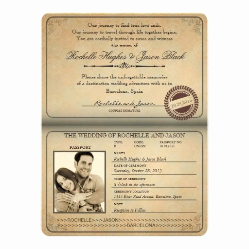 Passport Wedding Invitation Template Lovely Passport Invitation Template 2019