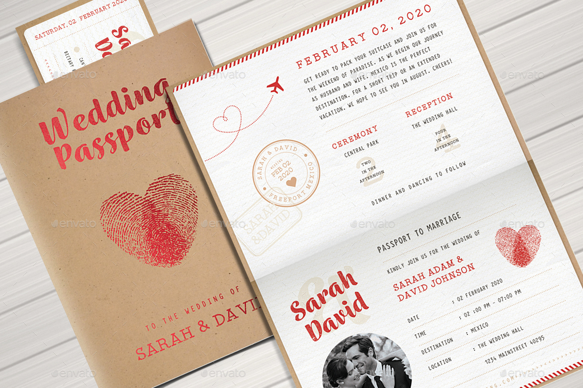 Passport Wedding Invitation Template Lovely Vintage Passport Wedding Invitation by Vector Vactory