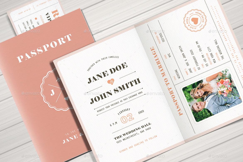 Passport Wedding Invitation Template New Pastel Passport Wedding Invitation by Vector Vactory