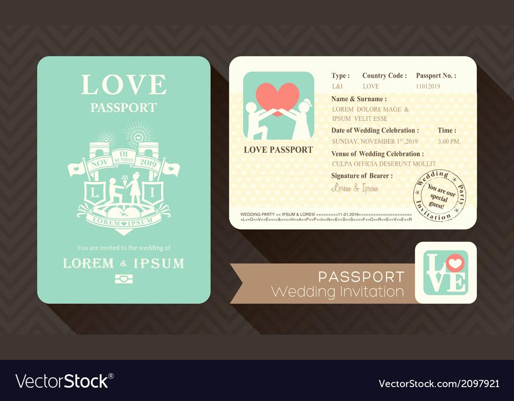 Passport Wedding Invitation Template Unique Passport Wedding Invitation Card Design Template Vector Image