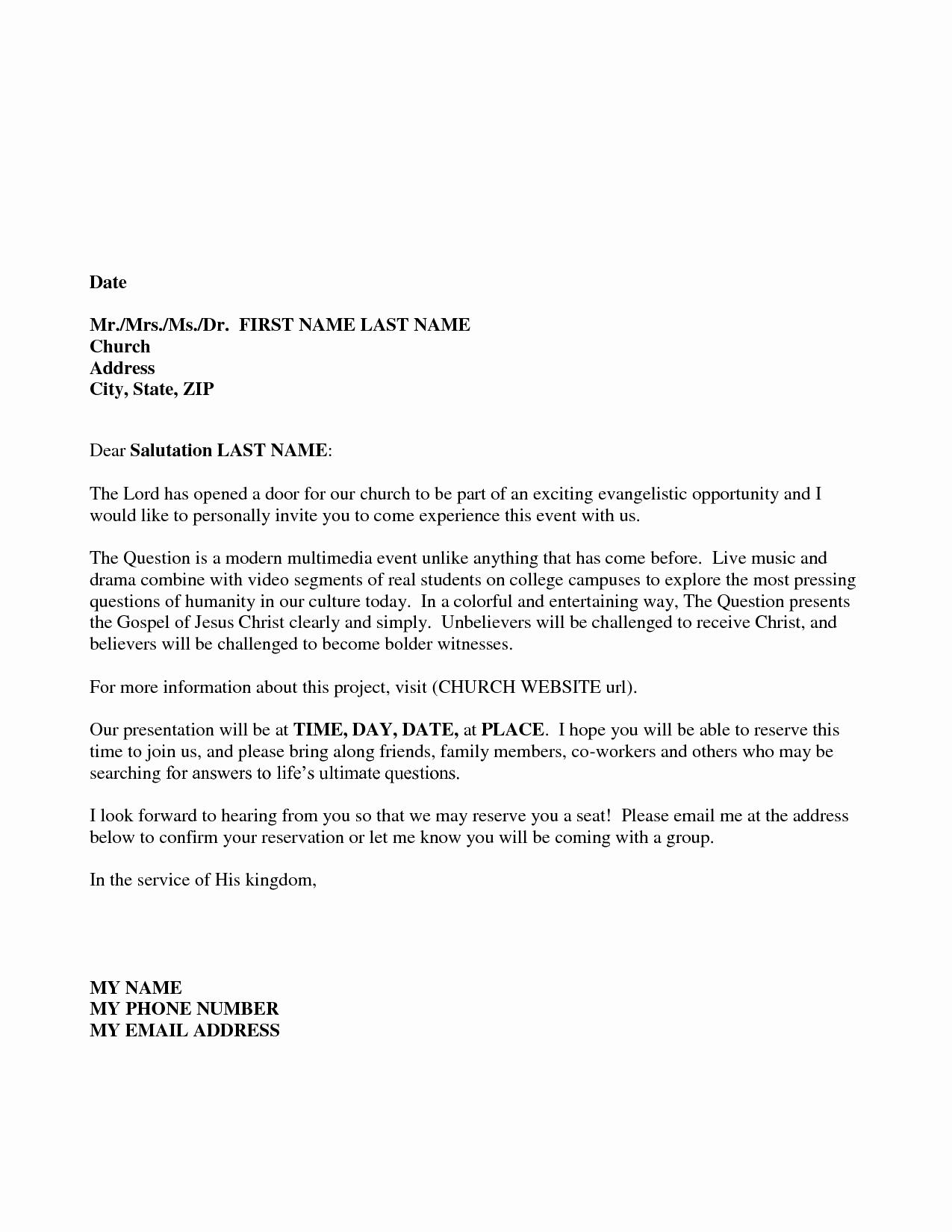 Pastor Anniversary Invitation Letter Fresh Sample Church Invitation Letter Sample Invitation Letters