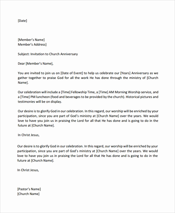 Pastor Anniversary Invitation Letter Inspirational Sample Celebration Letter 9 Documents In Pdf Word
