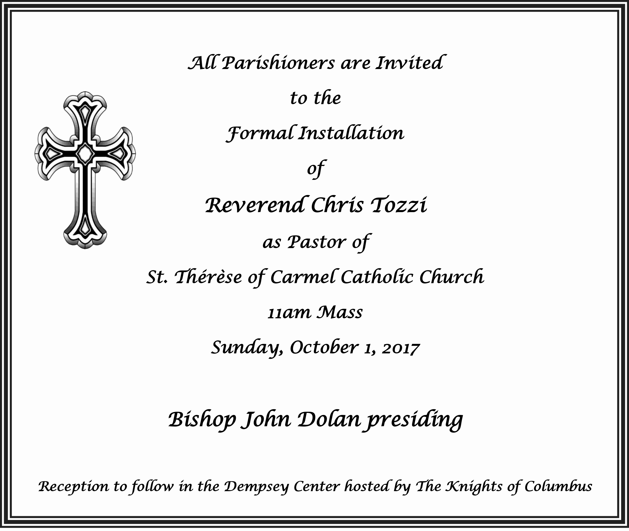 Pastor Installation Service Invitation Beautiful St therese Of Carmel Catholic Church – Installation Of Our