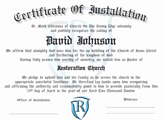 Pastor Installation Service Invitation Unique ordination Certificates for Your Church