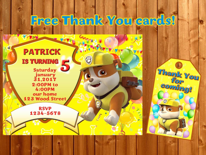 Paw Patrol Birthday Invitation Beautiful Rubble Paw Patrol Invitation Thank You Paw Patrol Birthday