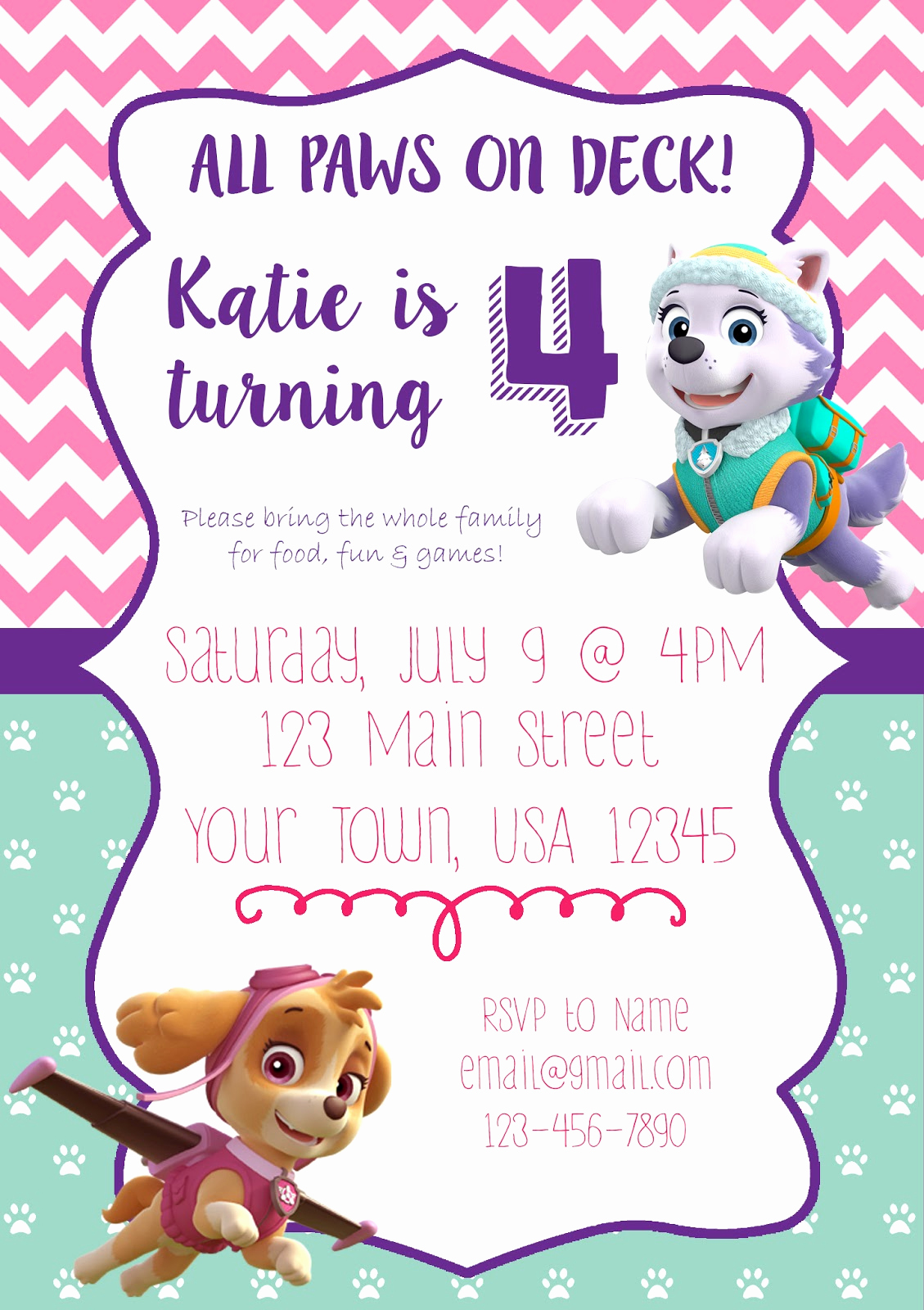 Paw Patrol Birthday Invitation Best Of Handmade by Holaday Girl themed Paw Patrol Party