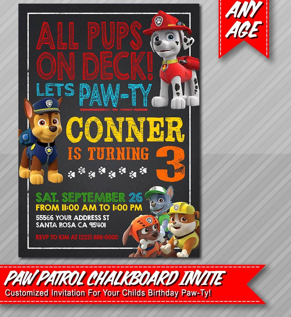 Paw Patrol Birthday Invitation Elegant Paw Patrol Invitation Chalkboard Style Paw by Epartyprintables