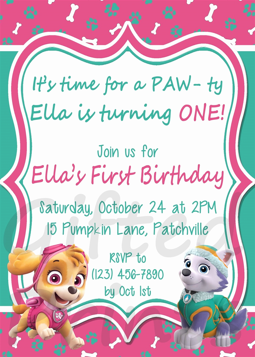 Paw Patrol Birthday Invitation Lovely Birthday Invitation Paw Patrol theme