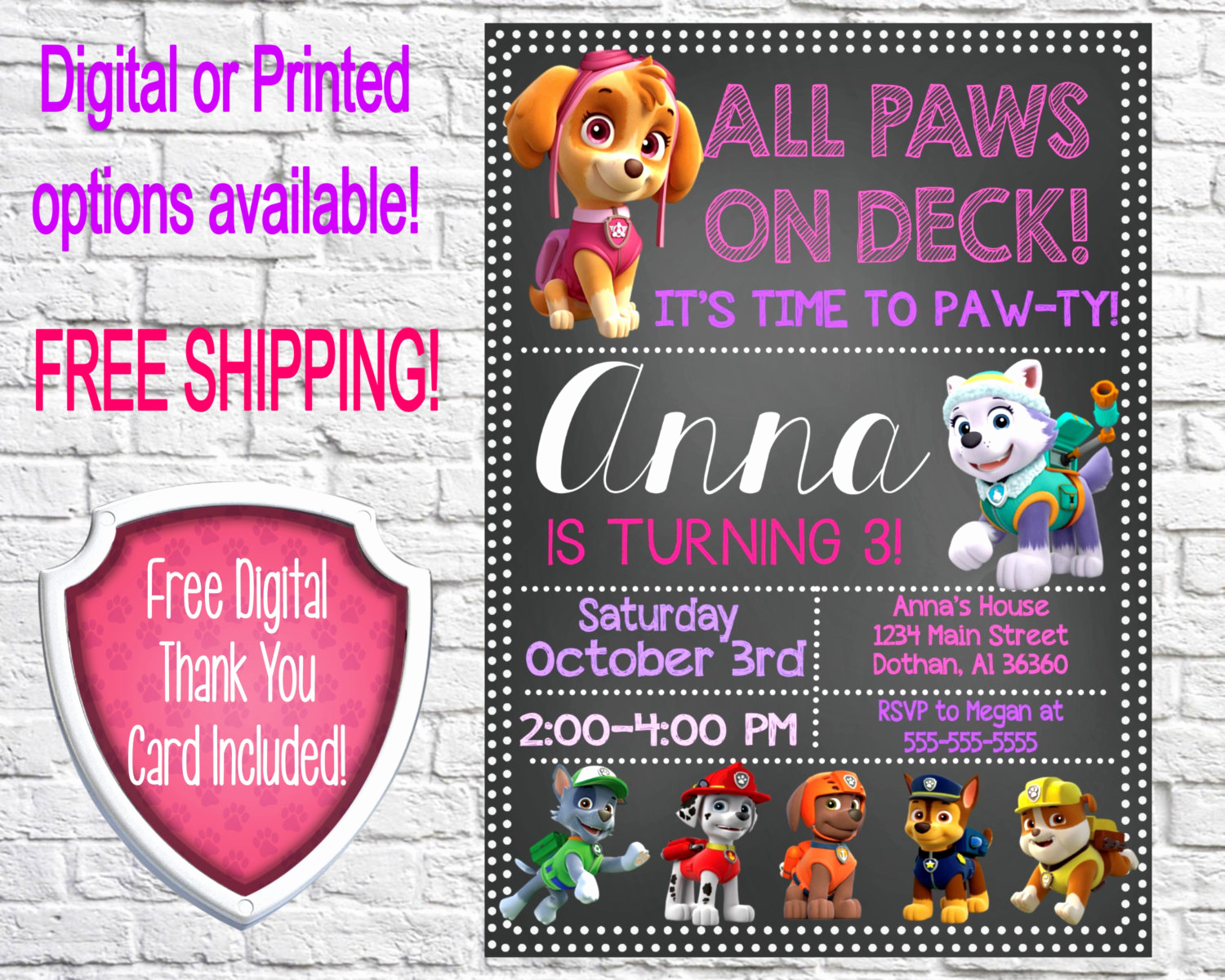 Paw Patrol Birthday Invitation Lovely Girl Paw Patrol Invitation Paw Patrol Birthday Paw by