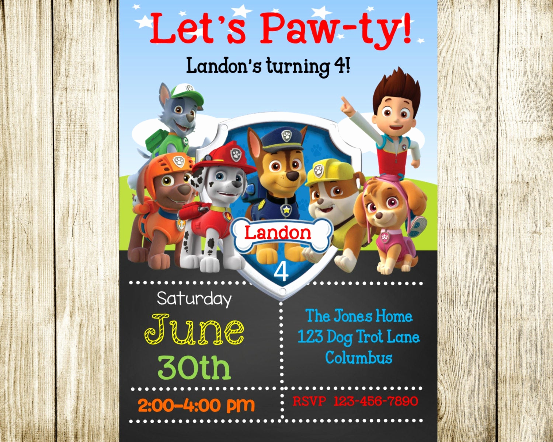 Paw Patrol Birthday Invitation New Paw Patrol Birthday Paw Patrol Invitation by Needmoredesigns