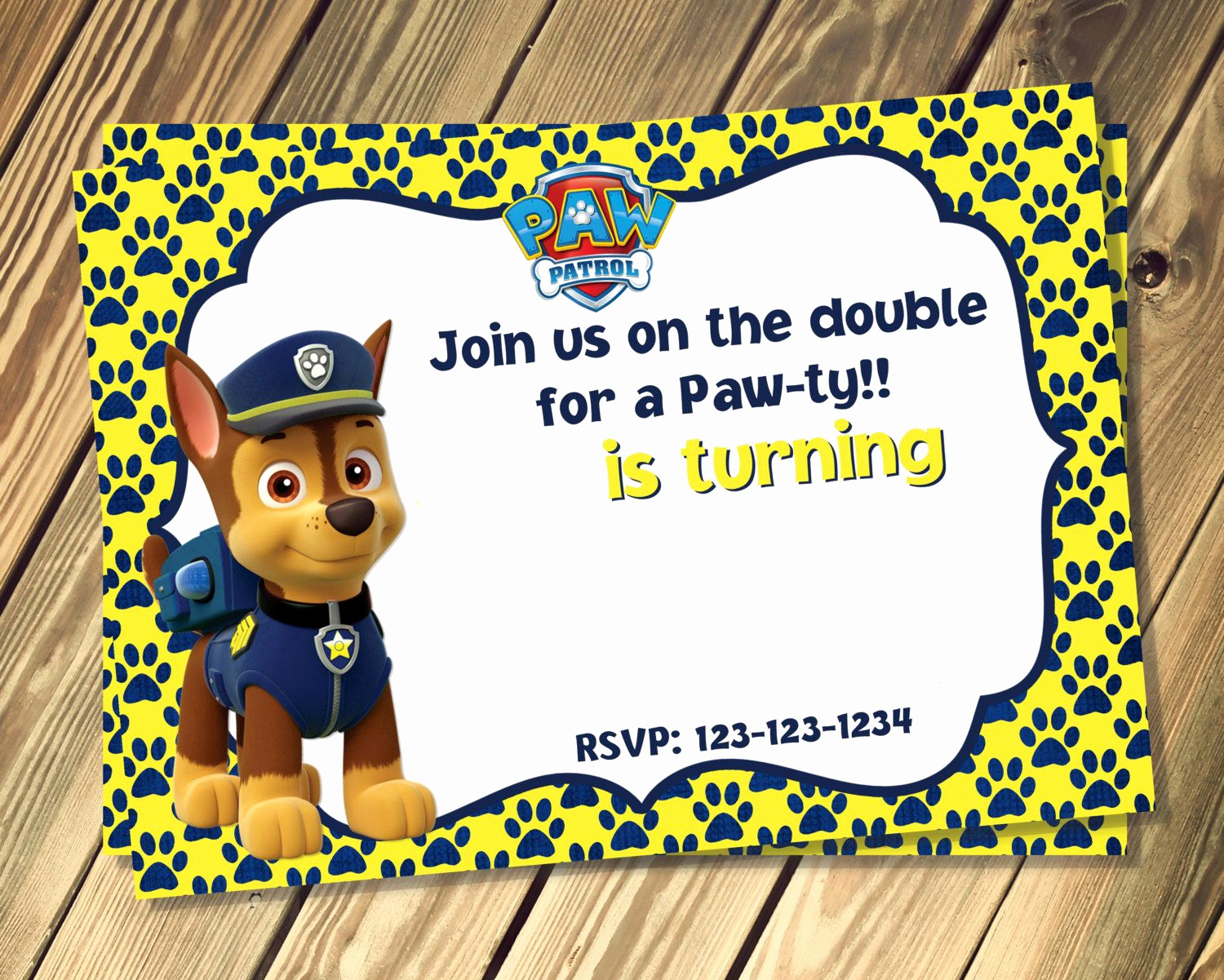 Paw Patrol Birthday Invitation Template Elegant Free Chase Paw Patrol Birthday Invites Template
