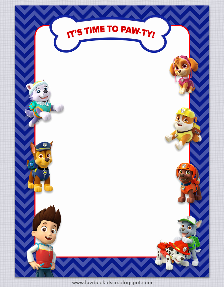 Paw Patrol Birthday Invitation Template Lovely Paw Patrol Birthday Invitations Free Printables