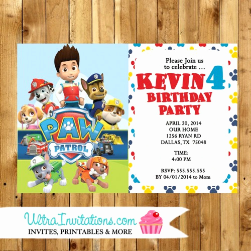 Paw Patrol Birthday Invitation Template Unique Personalized Custom Paw Patrol Marshall Invitations