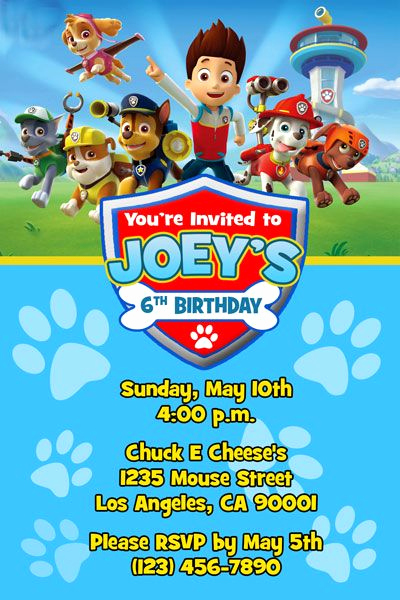Paw Patrol Invitation Ideas Elegant Paw Patrol Invitations Invitations