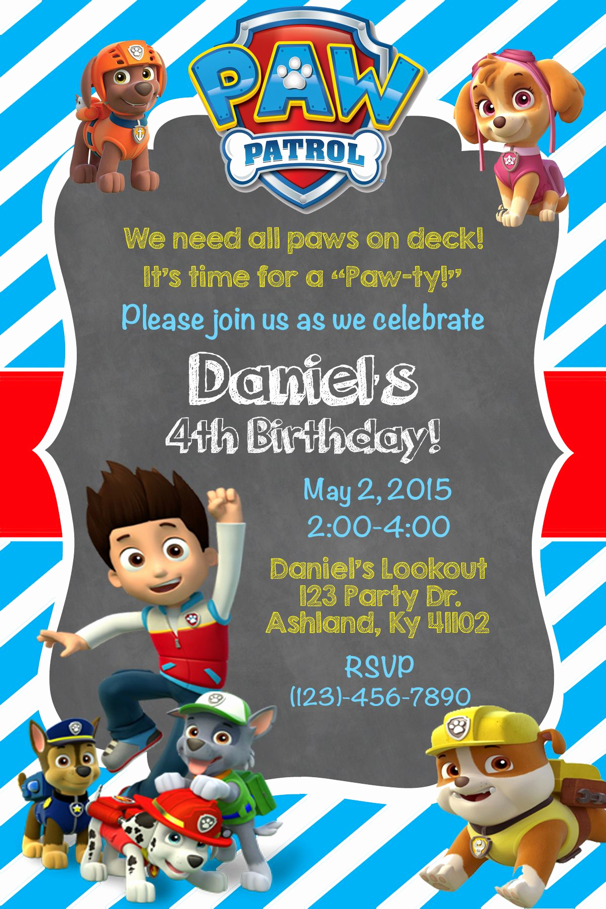 Paw Patrol Invitation Ideas New Paw Patrol Invite Shown In Light Blue $10 00