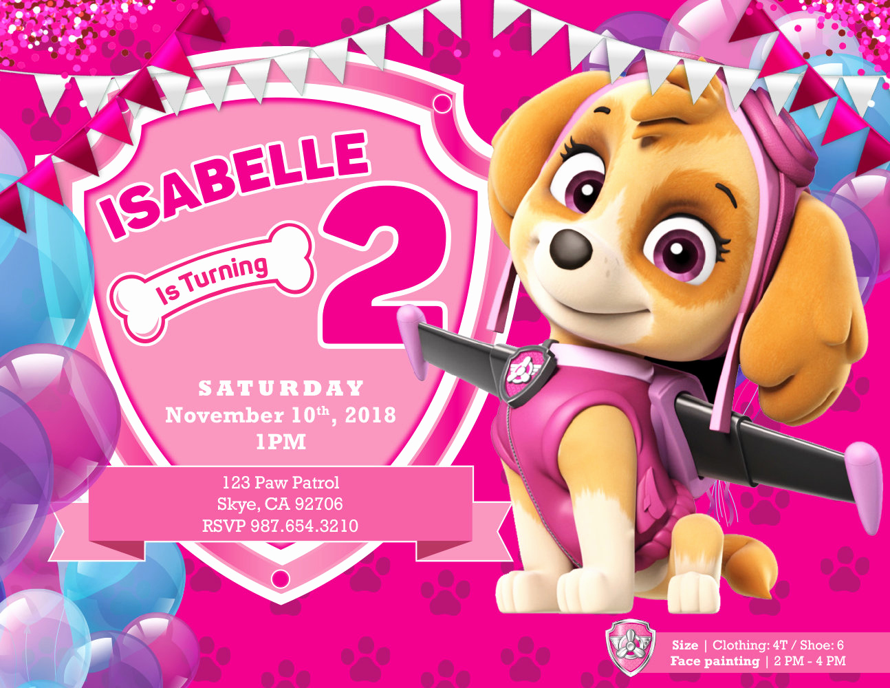 Paw Patrol Invitation Ideas Unique Paw Patrol Skye Birthday Invitations by Richard Nhan at