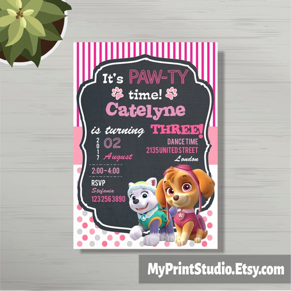 Paw Patrol Invitation Template Awesome Personalized Paw Patrol Birthday Party Invitations for Girls