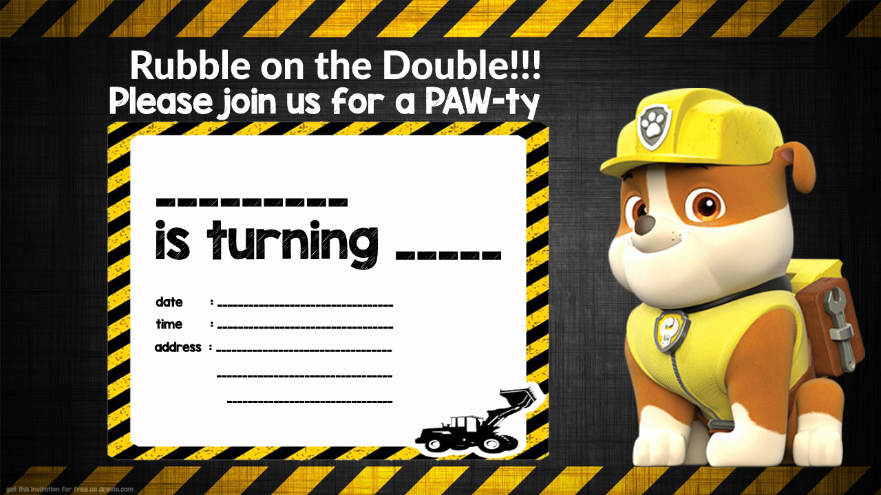 Paw Patrol Invitation Template Blank Awesome Free Printable Rubble Paw Patrol Invitation Template