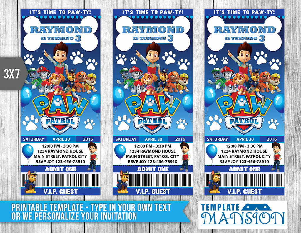 Paw Patrol Invitation Template Blank Awesome Paw Patrol Ticket Invitation Invitation Psd by
