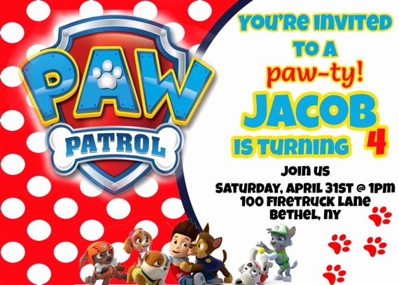 Paw Patrol Invitation Template Blank Awesome Unavailable Listing On Etsy