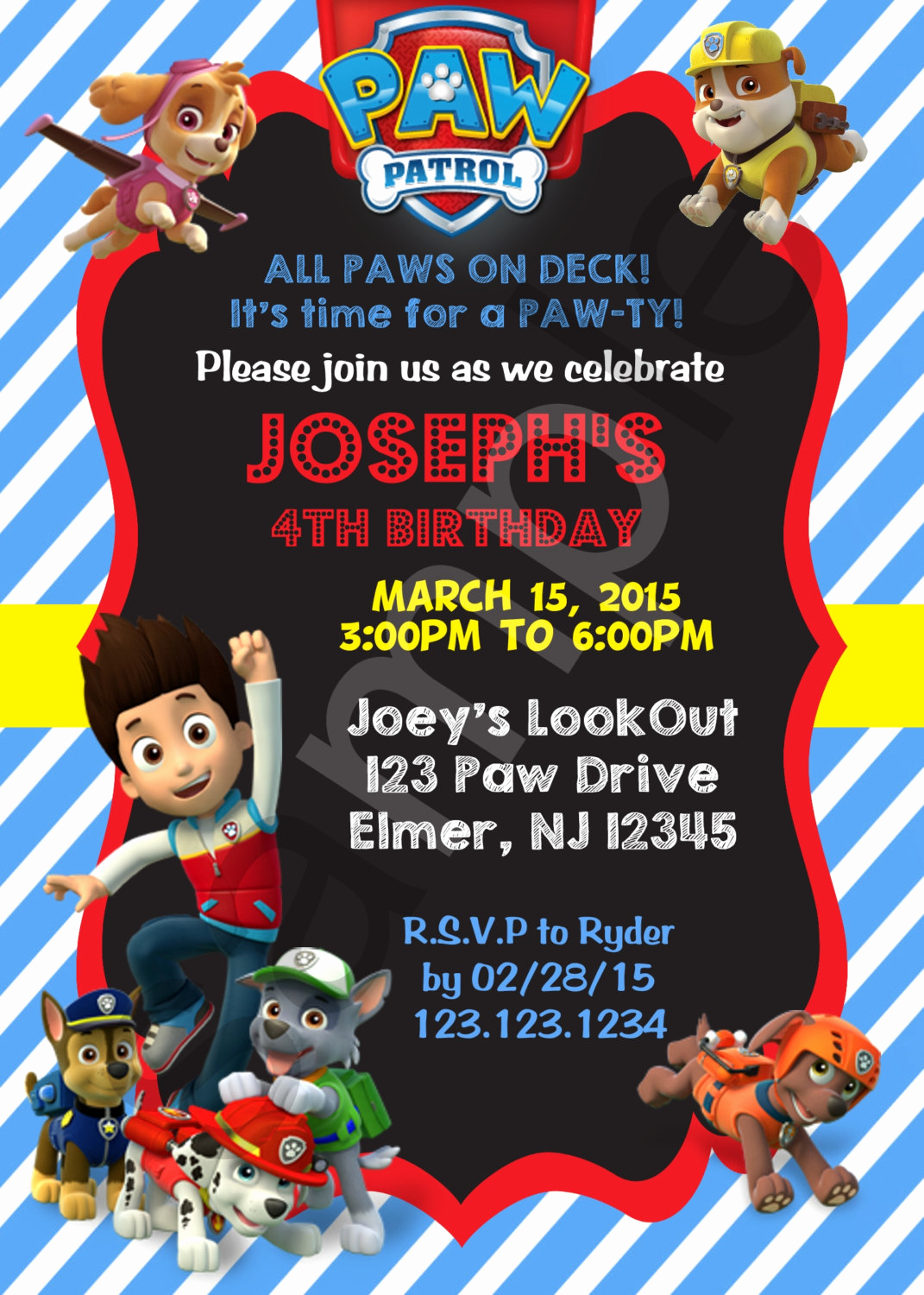 Paw Patrol Invitation Template Blank Beautiful Paw Patrol Birthday Invitation Digital File On Luulla