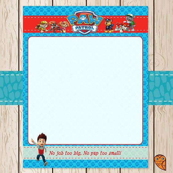 Paw Patrol Invitation Template Blank Fresh Printable Paw Patrol Stationery Paper Blank by