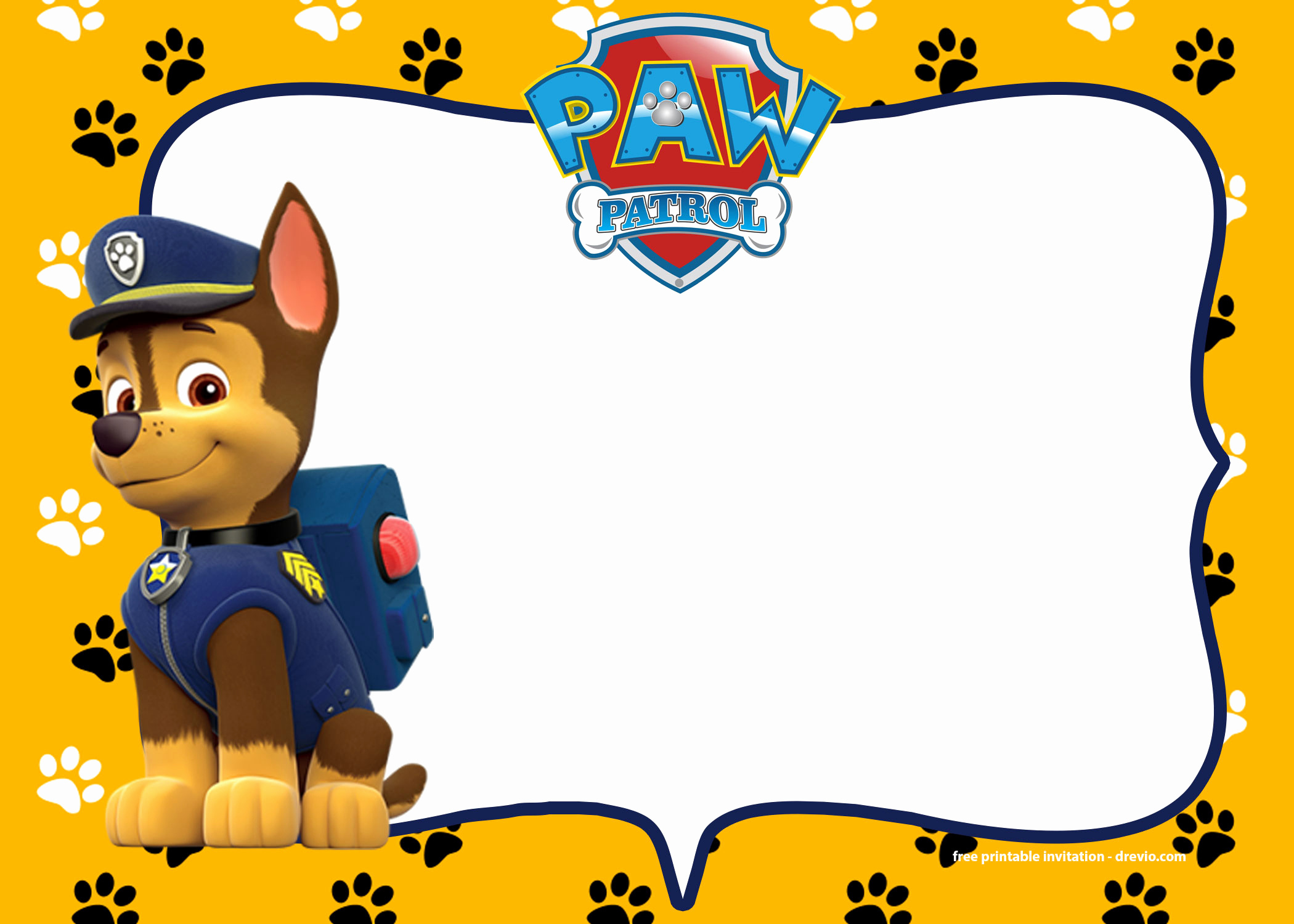 Paw Patrol Invitation Template Blank Inspirational Paw Patrol Invitation Template – Blank Printable – Chase