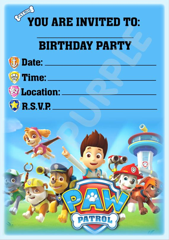Paw Patrol Invitation Template Blank Luxury Unavailable Listing On Etsy