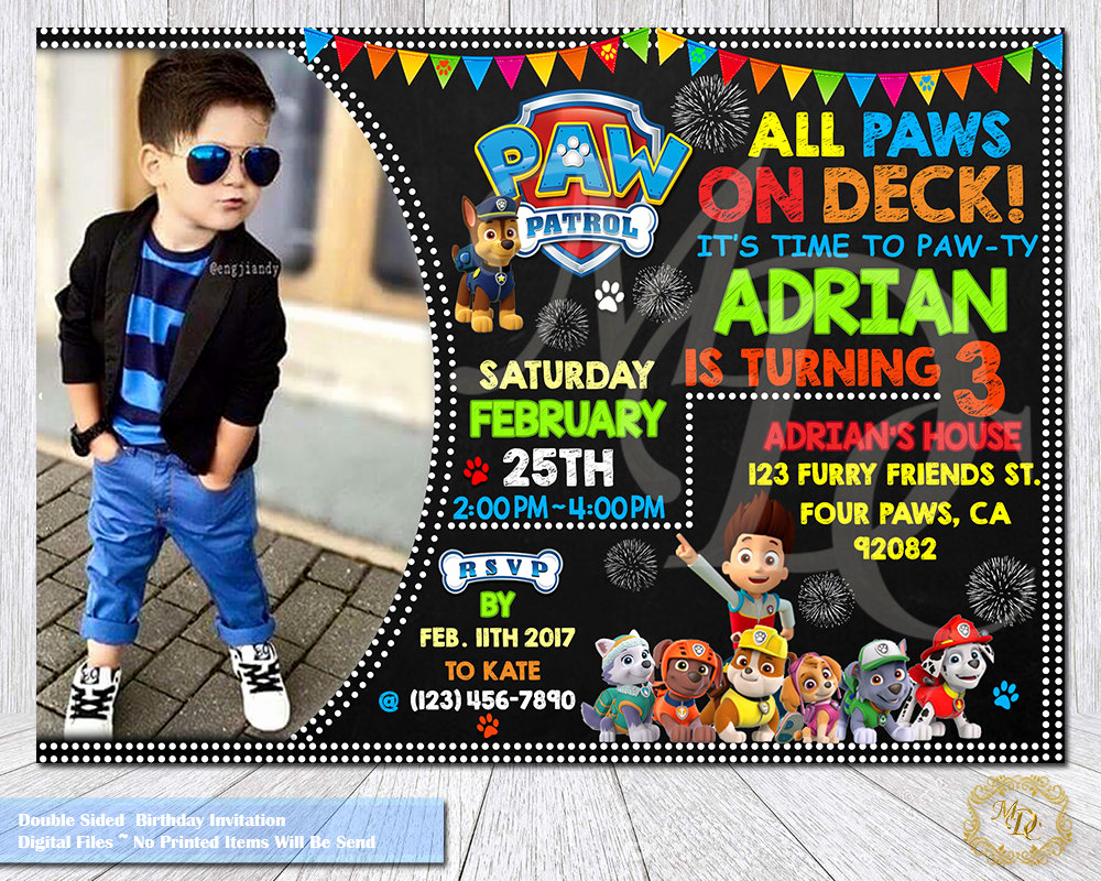 Paw Patrol Invitation Template Blank New Paw Patrol Birthday Invitation Paw Patrol Invitation Paw
