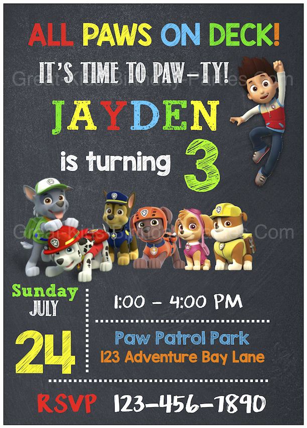 Paw Patrol Invitation Template Blank New Paw Patrol Birthday