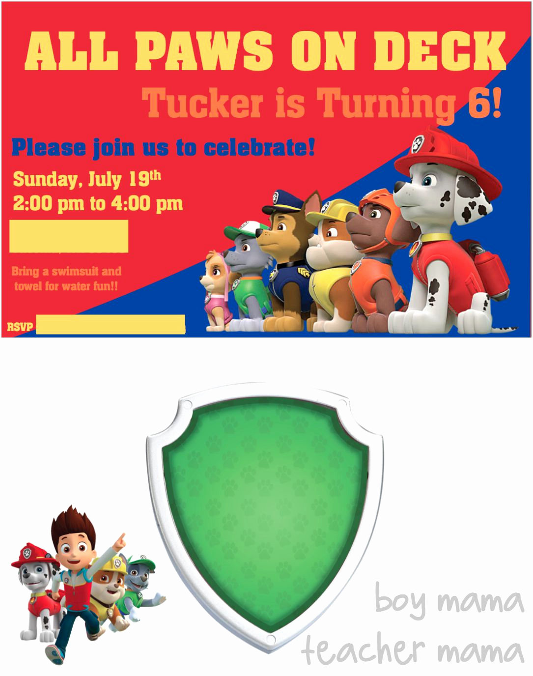 Paw Patrol Invitation Template Blank New Paw Patrol Birthday Party Boy Mama Teacher Mama
