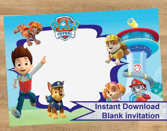 Paw Patrol Invitation Template Blank New Paw Patrol Invitation Paw Patrol Birthday by Designmadedesigns