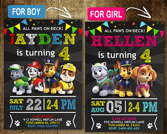 Paw Patrol Invitation Template Blank Unique Paw Patrol Birthday Invitation Invitations Paw Patrol