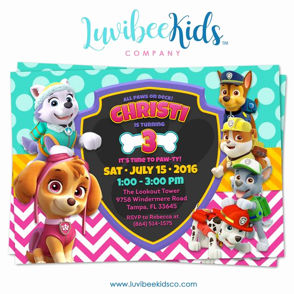 Paw Patrol Invitation Template Free Beautiful Paw Patrol Birthday Invitation Girl Style – Luvibeekidsco