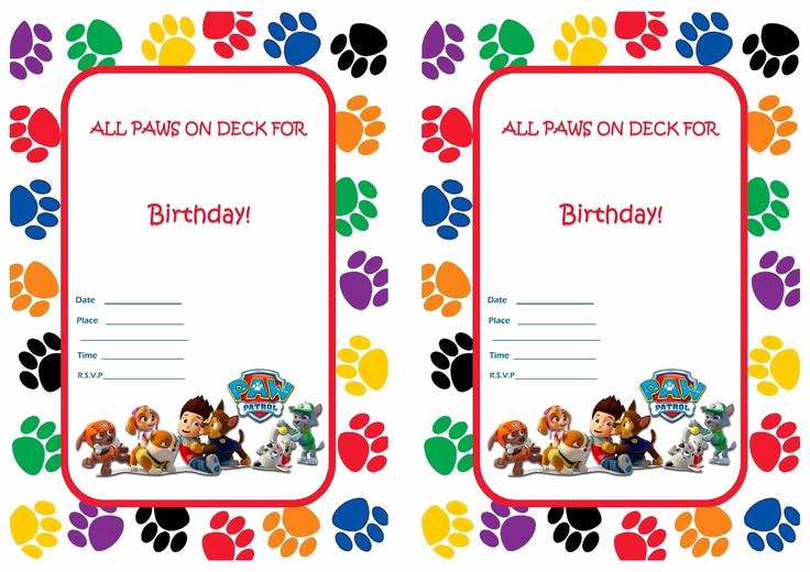 Paw Patrol Invitation Template Free Beautiful Paw Patrol Birthday Invitations