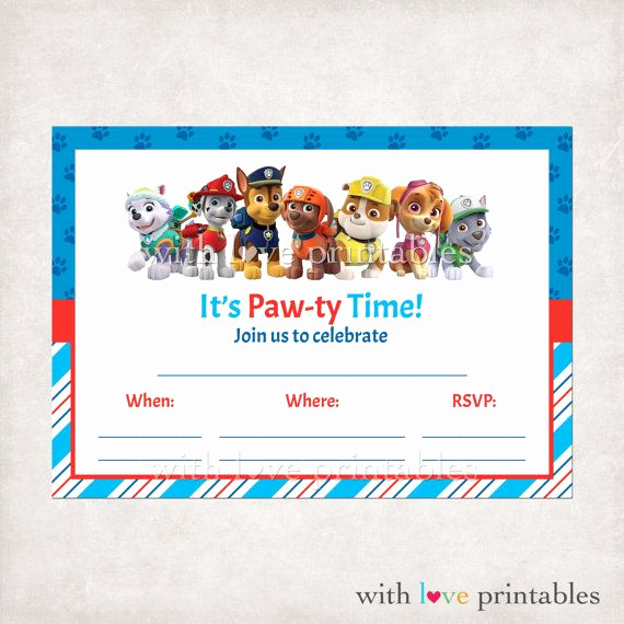 Paw Patrol Invitation Template Free Elegant Printable Paw Patrol Fill In Blank Birthday Invitations