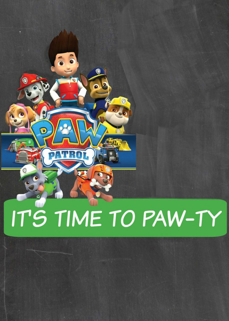paw patrol digital invitation blank