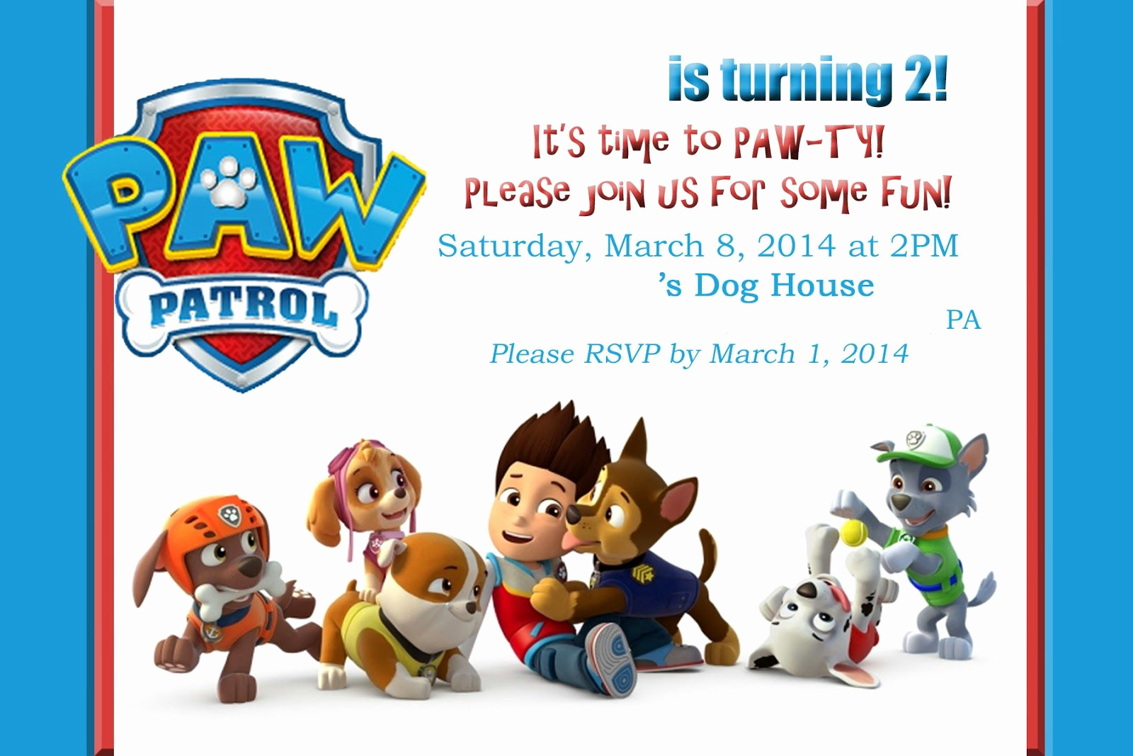 Paw Patrol Invitation Template Free Lovely Paw Patrol Invitations On Pinterest