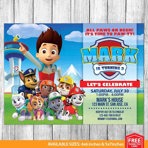 Paw Patrol Invitation Template Free Luxury Best 20 Paw Patrol Birthday Card Ideas On Pinterest