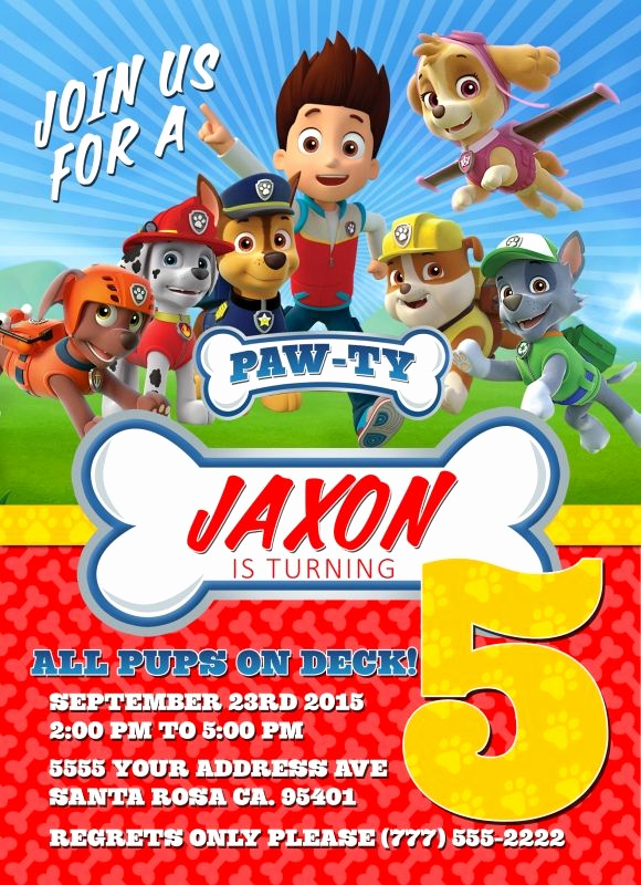 Paw Patrol Invitation Template Free New Paw Patrol Birthday Invitations Free Printable